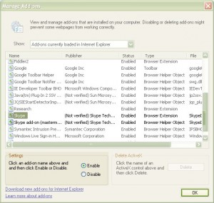 Disable Skype Addon for Internet Explorer